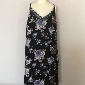Charlotte Russe - Black Floral Slip Dress (Medium)